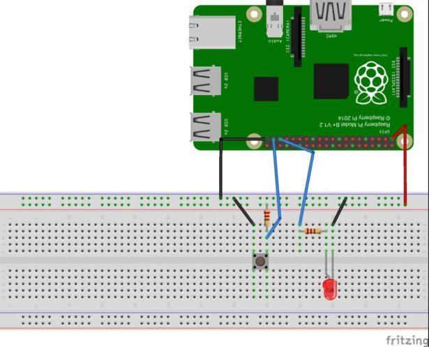 schematic interface a button to raspberry pi