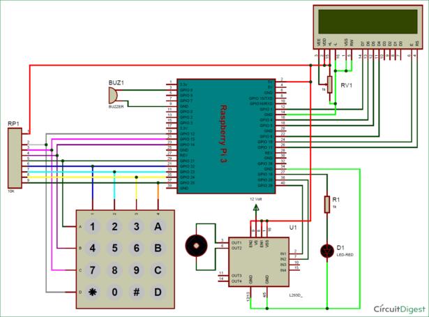schematic raspberry pi digital code lock on breadboard