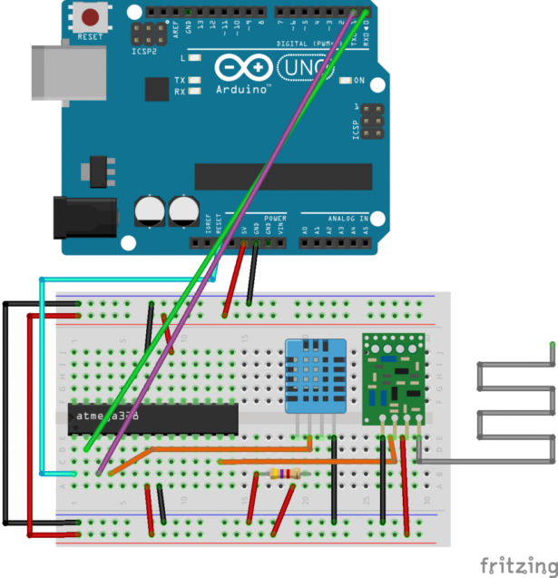 schematic with an atmega create a wireless temperature sensor