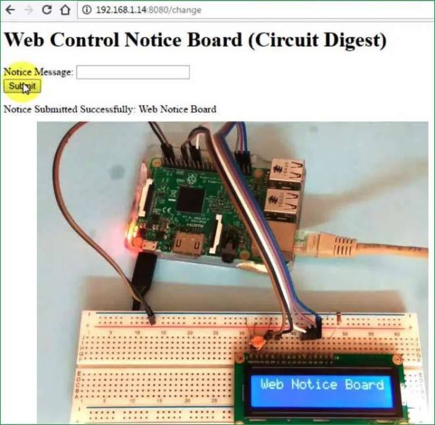 web controlled iot notice boar dusing raspberry pi