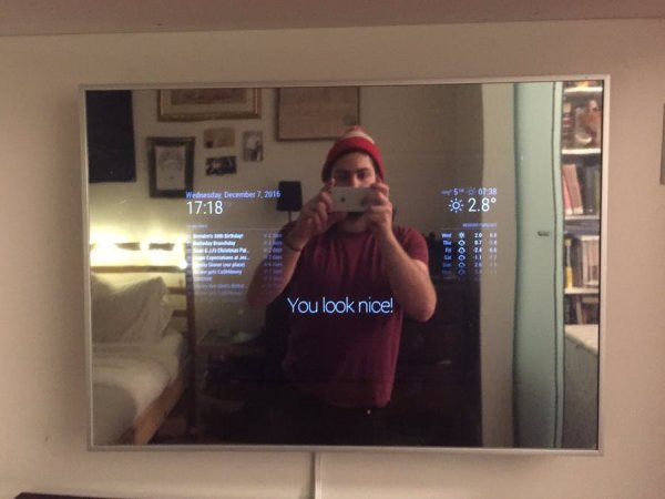 smart mirror with optional alexa