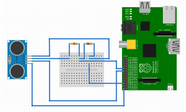 schematic distance calculation with ultrasonic sensor