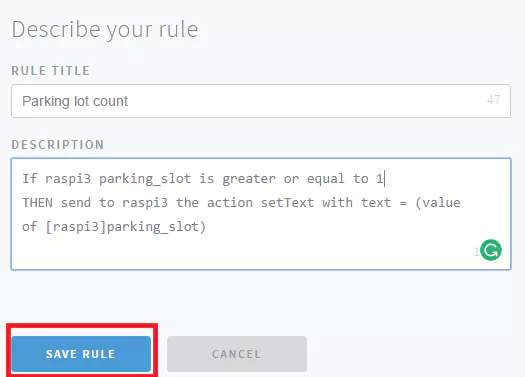 Then click on SAVE RULE