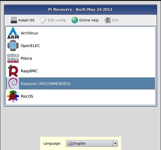 Main OS Selection Menu – Raspberry Pi