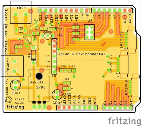 Fritzing drawing of the board