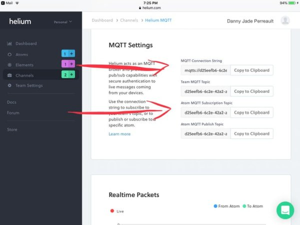 MQTT connection information
