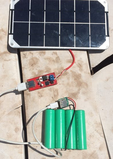 Solar Panel and charger setup working