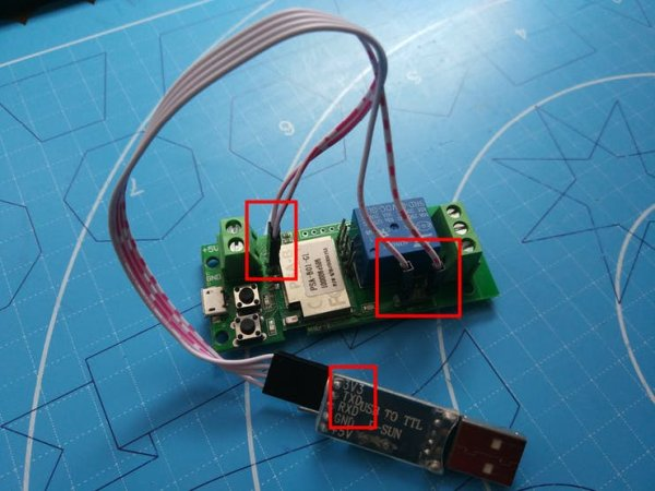 Connected USB-to-Serial device wires to ITEAD 1-CH WiFi Switch