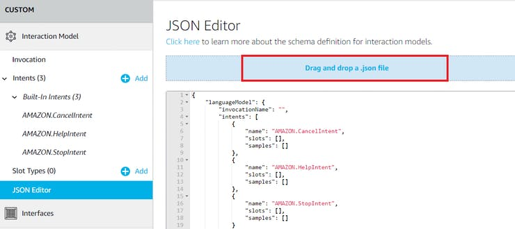 Drag and drop the json file attached code section