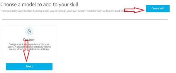 Select Custom & Create Skill