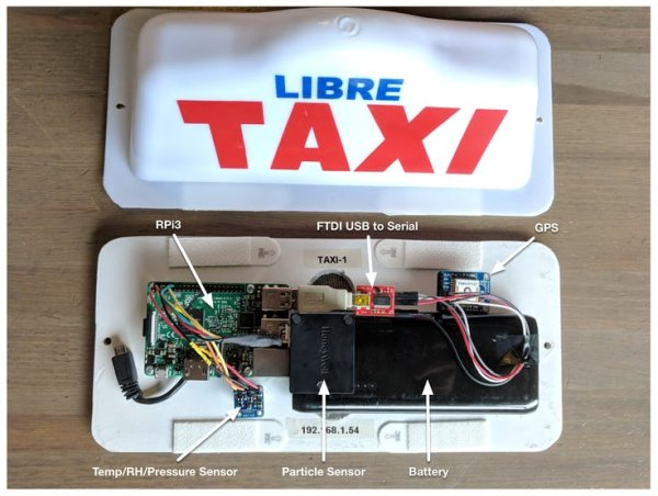 assembled the taxi sign