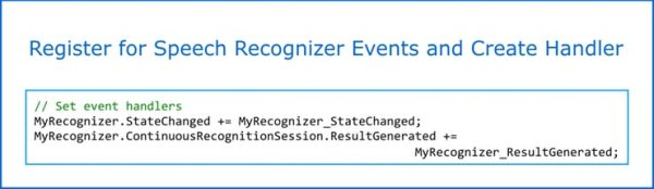 register for speech recognizer event and create handler