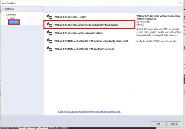 Create Web API 2 Controller with actions using Entity Framework