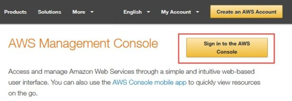 Log in to the AWS Console