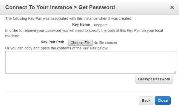 connect to your instance password
