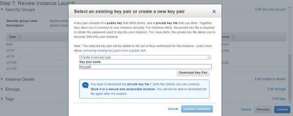 step create a key pair and click download