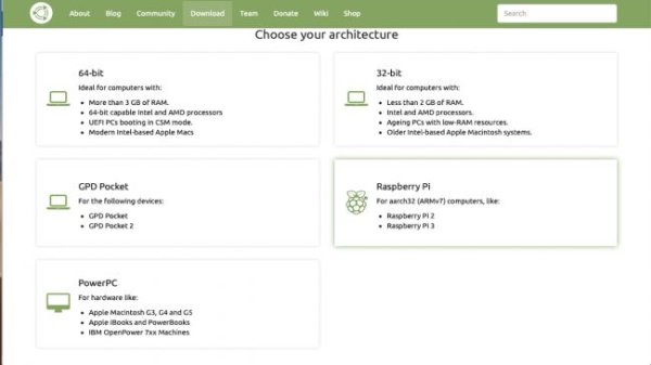Choose Raspberry Pi as your architecture