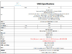 Preliminary specs for the Khadas Vim3